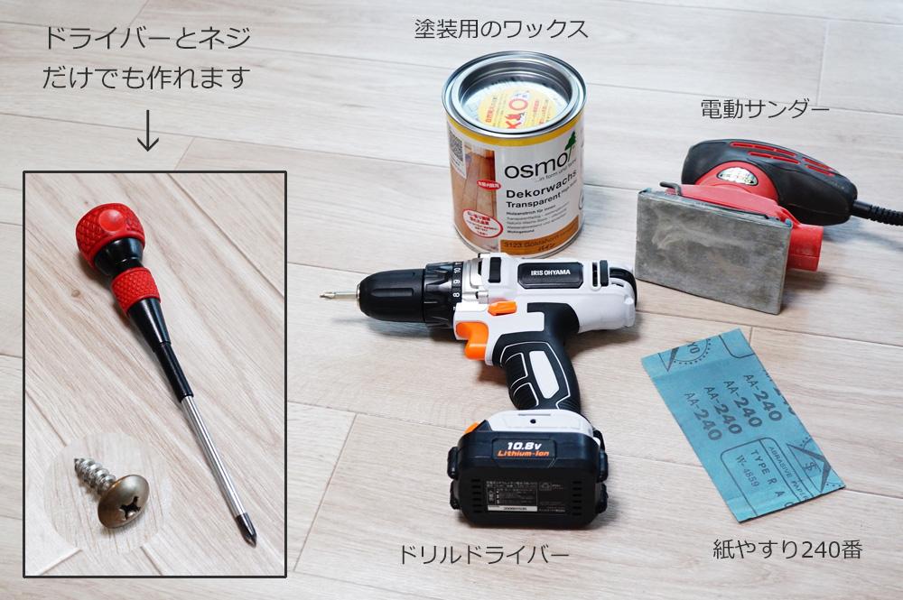 木材と黒い鉄脚を使ったパソコンデスクの作り方 工具