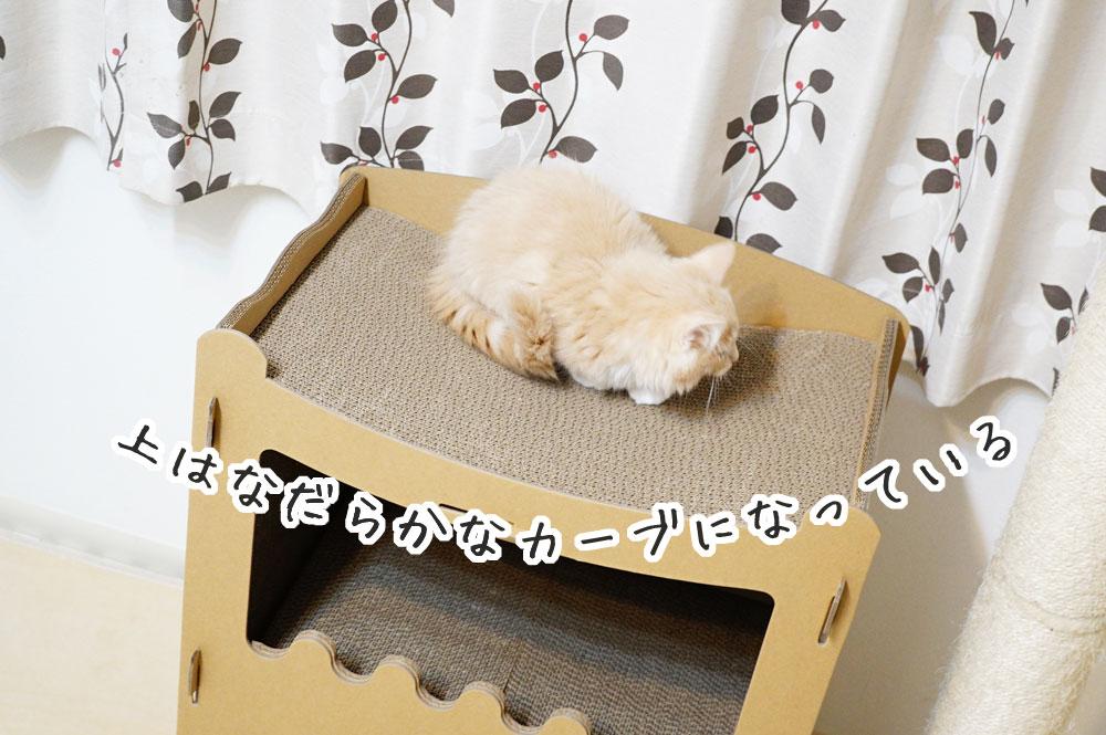 【raku】の猫用爪とぎキャットハウス 上はなだらかなカーブ