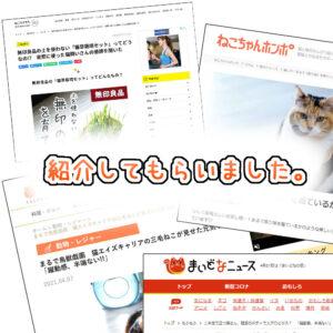 ニュースサイトや有名な猫サイトに掲載されました!